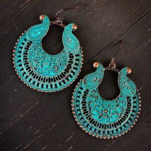 Jewelry - Copper Patina Tribal Earrings